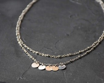 RAS of brass neck mini silver medals on double fantasy chain