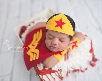 Newborn Wonder Women Superhero Costume for Baby Girl, Photography Prop, DC Comics, Girl Superhero, Girl Comic Book Hero, Handmade Hero