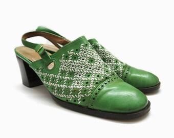 Vtg. 70s leather slingbacks | Leather Italy shoes | slingback pumps