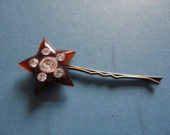 Vintage Faux Tortoiseshell & Diamante/Rhinestone Star Shaped Hair Clip/Slide/Barrette - Art Nouveau/Edwardian