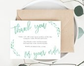 INSTANT Business Thank You Cards, Editable PDF Printable Packaging Inserts for Online Shops, Etsy Sellers | Watercolor Mint, Lola | Template
