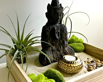Large Zen garden/air plant terrarium  DIY kit - meditating Buddha gift for any occasion-zen decor- zen garden yin and yang terrarium