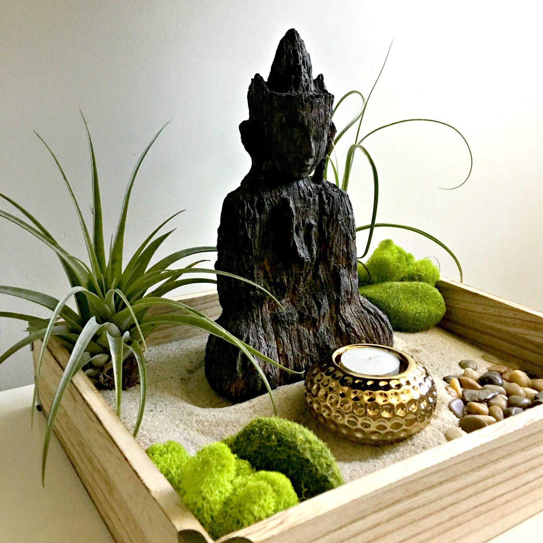 large zen garden air plant terrarium diy kit meditating buddha gift for any occasion zen decor. Black Bedroom Furniture Sets. Home Design Ideas