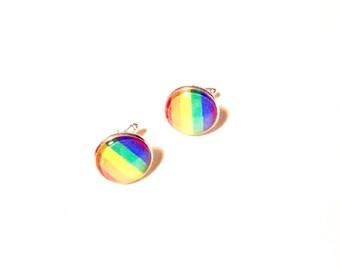 Handmade LGBT cufflinks flag rainbow lesbian gay transgender homosexual cuff links geek present wedding