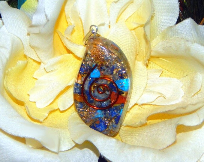DRUID Orgone pendant - Handcrafted gemstone Reiki Crystal Necklace - Turquoise Lapis Lazuli Jasper