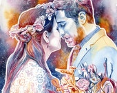 CUSTOM BOYFRIEND GIFT, boho wedding gift, husband gift, couples portrait, first wedding anniversary, gift for husband, boyfriend gift