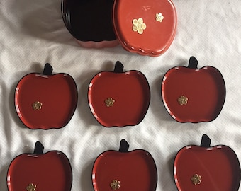 Vintage Lacquered Apple Coasters