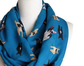 French Bulldog Blue Infinity scarf, Circle scarf, Loop scarf, Wide Scarf, Shawls, spring fall winter summer fashion pet lover gift pet gift