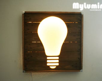 Pallet wood bulb light, wall lamp, wood lighting, LED light, design lamp, mood lamp, ambient, lamps, light bulb loft light, wall bulb light
