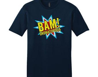 Comic Book Shirt Onomatopoeia TShirt English Teacher Gifts Sarcastic Shirt Funny Shirt for Grammar Police Grammar TShirt Bam Teacher Shirt