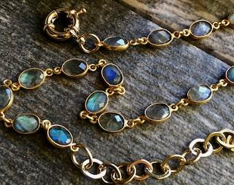 Gemstone Choker Necklace,Labradorite Choker Necklace,Gemstone Chain Choker,Labradorite Choker Gold,Labradorite Chain Choker,Gem Choker Boho