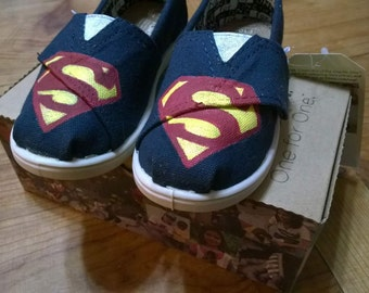 Superman Inspired Shoes - Custom Hand Painted TOMS Shoes - Customizable