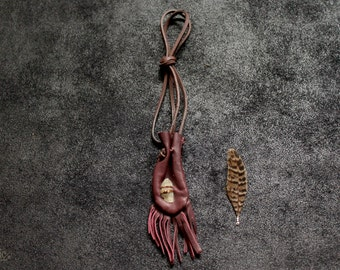 CRYSTAL Leather Medicine Pouch • shaman • neck pouch • nomad boho hippie burgundy red