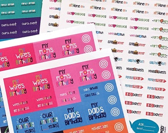 NEW! Dad Planner Stickers (Qty 644) ideal for the Dad Pad®  -stickers for work, auto, pick-up, grill, dad events. Ships NOW!