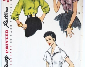 1950s Women's Wide Collared Button-Up Shirt/Blouse Sewing Pattern Size 14 Bust 32 Simplicity 4530