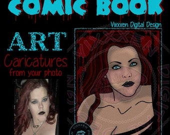 COMIC BOOK Caricature Digital Drawing from your Photo Commissioned Art Custom Portraits drawing illustration superhero villian