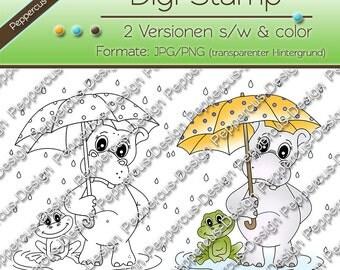 Digi friends stamp set - under the umbrella - Hippo/frog / E0115