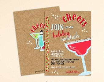 Christmas Cocktail Party Invitation, Holiday Party, Christmas Cocktail Party, Open House, Holiday Birthday Party, C13014