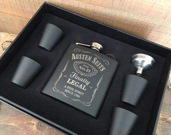 21st Birthday Gift Flask, Personalized Laser Engraved Flask Set with Funnel & Shot Glasses, Custom Flask, Hip Flask, Engraved Flask