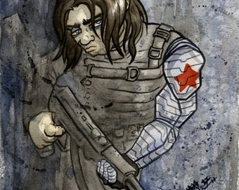 Winter Soldier, Marvel Comic Superhero, Original Watercolor Painting