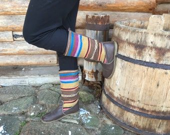 Vintage boots Winter fall boots Striped multicolored boots