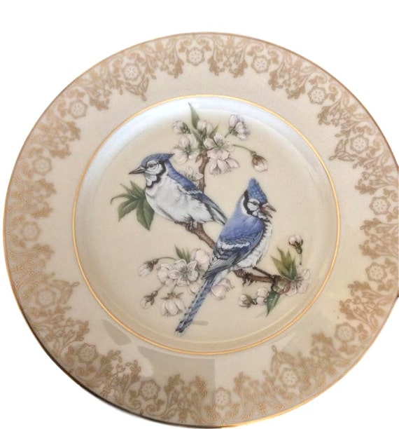 Lenox China Plates Collection Garden Birds Blue Jays Bone China Plate Vintage Ivory Bone China Fine China with Original Box & Certificate