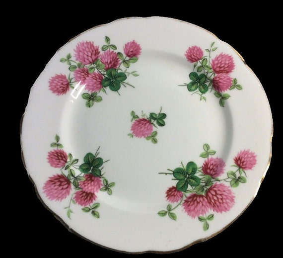 Vintage Bone China Plate by Hammersley, Rosy Pink Clovers, Fine Bone China Made In England