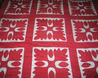 Antique 1800s Oak Leaf Quilt Princess Feather Quilt Hand Applique Quilt Red White Cotton