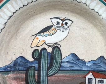 """Signed Jimon mexican OWL art pottery 7"""" folk art hand painted plate"""