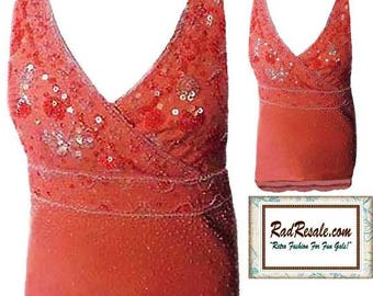 80's Sequined Halter Top in Peach with Sequins and Beading - Size Small