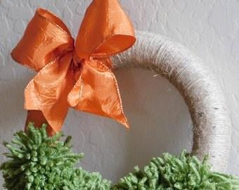 Outdoor, Indoor Wreath, Orange and Green Wreath, Simple and Elegant