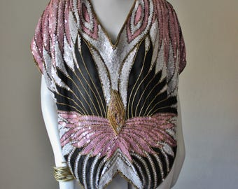 Vintage butterfly sequin top, 1980s, disco, beaded, pure silk, pink, black, iridescent white, gold. Made in India. Gorgeous, rare. Size M