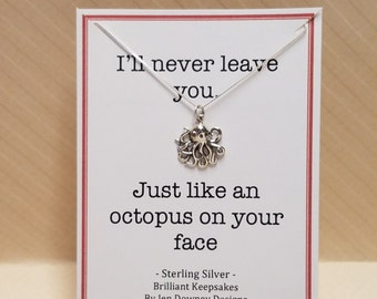Never Leave You Octopus Sterling Silver Pendant Necklace