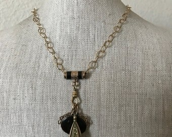 Watch Chain Slide w/ Intaglio and Wax Seal Fob Chain Necklace   @CELESTEANDCOGEMS