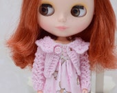 Pretty pastel pink knitted lacy cardigan for Blythe