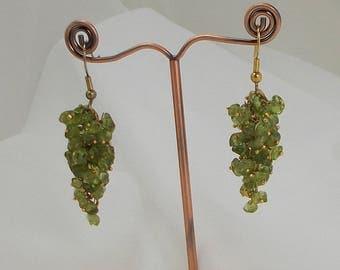 Dainty Peridot Gem Stone Cluster Earrings  3053