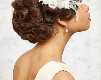 Bridal headpiece haircomb wedding vintage bride Fascinator feathers rhinestones Hydrangea cream ivory offwhite customisable bridesmaid pearl