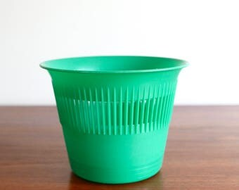 French vintage green plastic planter, made in France  - 1960s