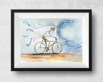 Fear, watercolor illustration by Tatiana Feiry Furlan