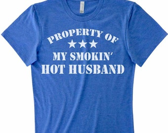 Property of My Smokin Hot Husband Burnout Tank Top Funny Valentines Day Gift For Wife Cute Racerbank Tank Top Anniversary Gift For Her