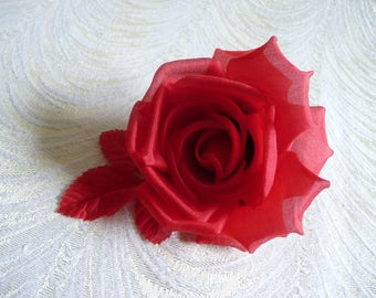 Lipstick Red Silk Millinery Rose for Hats Fascinators Dress Brooch Gowns Weddings