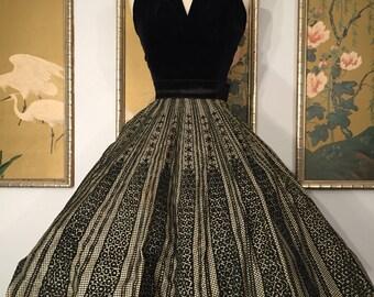 1950s Taffeta Skirt with Velvet Flocked Design -- Lovely but Needs TLC!