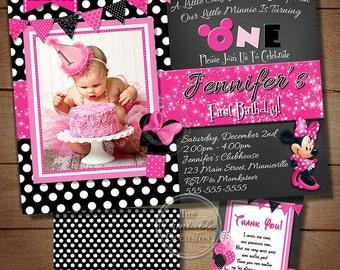 Minnie Mouse Birthday Invitations, Black Polka Dot Photo Invitation, Minnie Mouse Photo Invitation, Printable Minnie Mouse Invitation