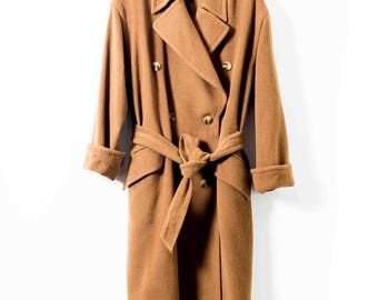 Vintage Wool Camel Coat  - Ladies Wool Coat  - UK16
