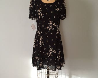 BOW BACK dress | 90s semi sheer layering mini dress | floral bow back mini dress