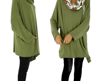 HR800GN2 tunic layered look shirt asymmetrical Gr. 40-52 green plus size Jersey vintage