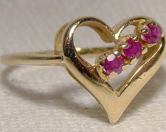 14K Rubies Ruby Heart Ring 1970s - Size 7