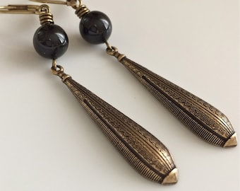Art Deco Earrings  Boho Earrings  Long Dangle Earrings  Gypsy Dangles  Black Swarovski Pearls  Bohemian Earrings
