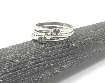 3 Sterling Silver Initial Rings, Silver Monograms Stacking Rings, Dainty Rings, Minimal Stacking Rings, Stackable Rings, Silver Heart Ring