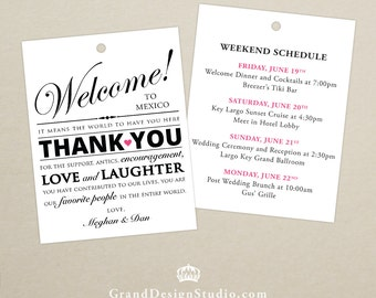 Set of 10 - Double-Sided Gift Tags for Wedding Hotel Welcome Bag - Destination Wedding Tags - Welcome Bag Thank You Tags Itinerary, Schedule
